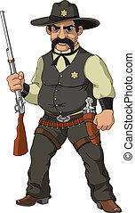Wild west. Cartoon sheriff with shotgun