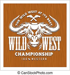 Wild west championship - badge on the wooden texture. Cowboy rodeo. Vector emblem.