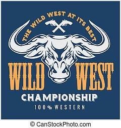 Wild west championship - cowboy rodeo. Vector emblem.