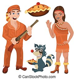 wild west characters: a hunter, a young Indian girl and a...