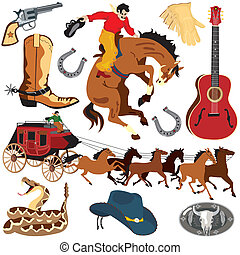 Wild West Clipart icons isolated on white