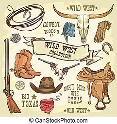 Wild West icons collection isolated