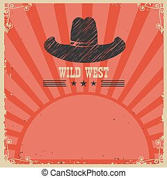 Wild west cowboy background. Vector red card