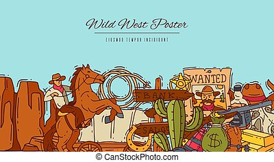Wild west cowboy elements banner with place for text. Western colorful cowboy, hat, boots and horseshoe poster