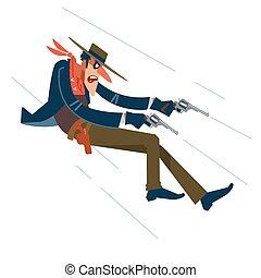 Wild West. Cowboy in a shootout. Vector flat, cartoon ...