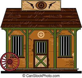 Wild West Cowboy Jail - Cartoon Cowboy Wild West Jailhouse...