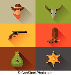 Wild west cowboy objects and design elements