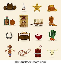 Wild west cowboy objects