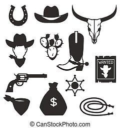 Wild west cowboy objects and design elements.
