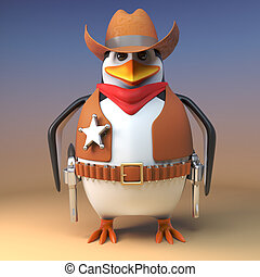 Wild west cowboy penguin sheriff stands steadfast ready to ...