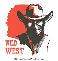 Wild West Cowboy portrait man in bandanna mask. Vector Western bandit in cowboy hat