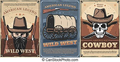 Wild West cowboy, skull, hats, guns and wagon cart