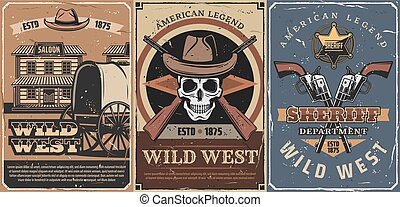 Wild West cowboy skull, sheriff guns, star, saloon