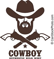 Wild west cowboy stencil retro emblem. Western ranger and pistols vintage logo. Vector stamp illustration.