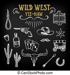 Wild west design sketch. Icons drawing vintage elements. ...