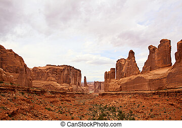 Wild West - Dramatic sandstone cliffs in Arches National...