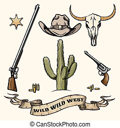 Objects of the wild west. Cowboy hat, gun and ammo, cactus and buffalo skull, sheriff badge. Vector illustration