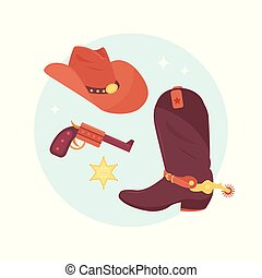 Wild west elements set. Cowboy accessories.