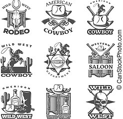 Wild West Emblem Set - Black wild west emblem set with wild...