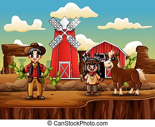 Wild west farm with cowboy and indian girl