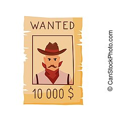 Wild west flat icon. Accessorie or object game and app ui icon. Wanted reward poster