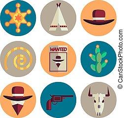 wild west flat icons set