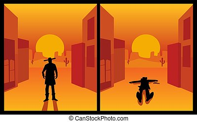Wild west gunslinger. Background the city and desert. Color ...