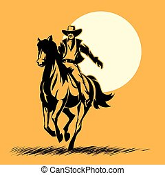 Wild west hero, cowboy silhouette riding horse at sunset....