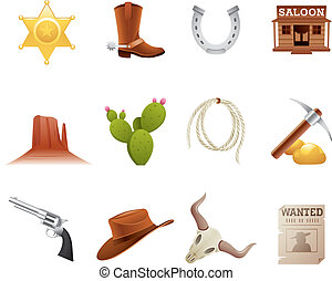 Wild west icons - Set of 12 icons from the American Old West