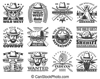Wild West icons of cowboy, skull, sheriff, bandit