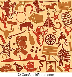 wild west icons seamless pattern