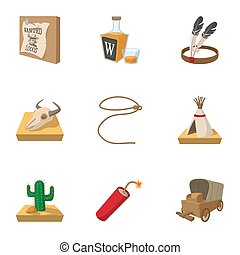 Wild West icons set, cartoon style - Wild West icons set. ...