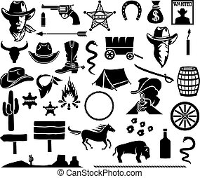 wild west icons set (cowboy head, horse, gun, arrow, cactus, sheriff star, hat, boot, horseshoe, bison, dynamite, bull skull, tent, wanted poster, money bag, barrel, campfire)