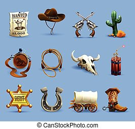 Wild West Icons Set - Wild west realistic icons set with ...