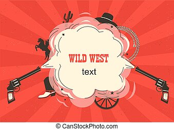 Wild West illustration with cowboy guns and burst space for text on red background