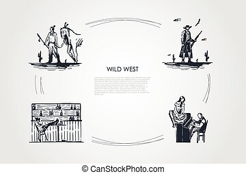 Wild west - Indian Yankee, cowboy, saloon, playing piano vector concept set