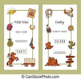 Wild west invite party template banners vector illustration. Vintage western posters and cowboy party flyers or invitation cards templates.