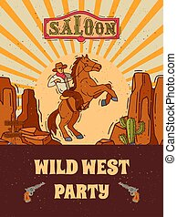 Wild west invite party template vector illustration. Vintage western poster and cowboy party flyer or invitation templates