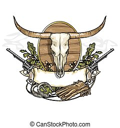 Wild west label with longhorn skull isolated on white
