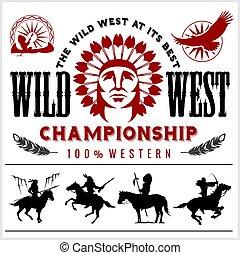 Wild West. Native american chief head illustration. Design...