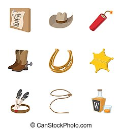 Wild West of America icons set, cartoon style - Wild West of...