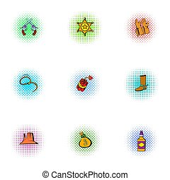 Wild West of America icons set, pop-art style - Wild West of...