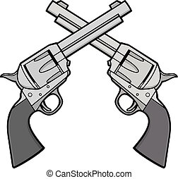 A cartoon illustration of a pair of Wild West Revolvers.