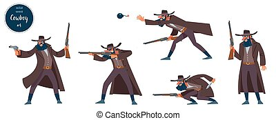 Wild west robber cowboy design concept with flat human ...