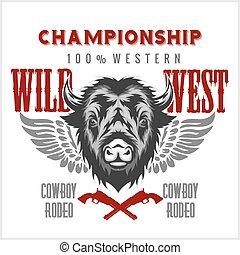 Wild west rodeo - bison head, vintage vector artwork for boy wear.