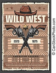Wild West saloon, revolvers and cowboy hat