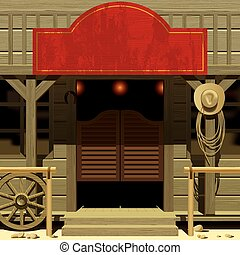 Vector iimage of the door of the Saloon in Wild West with a red signboard