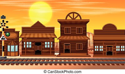 Wild west scene at sunset