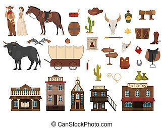 Wild west set. Cowboy, cactus, horse and cow. Saloon and ...