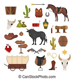 Wild west set. Cowboy clothes, cactus, horse and cow. ...